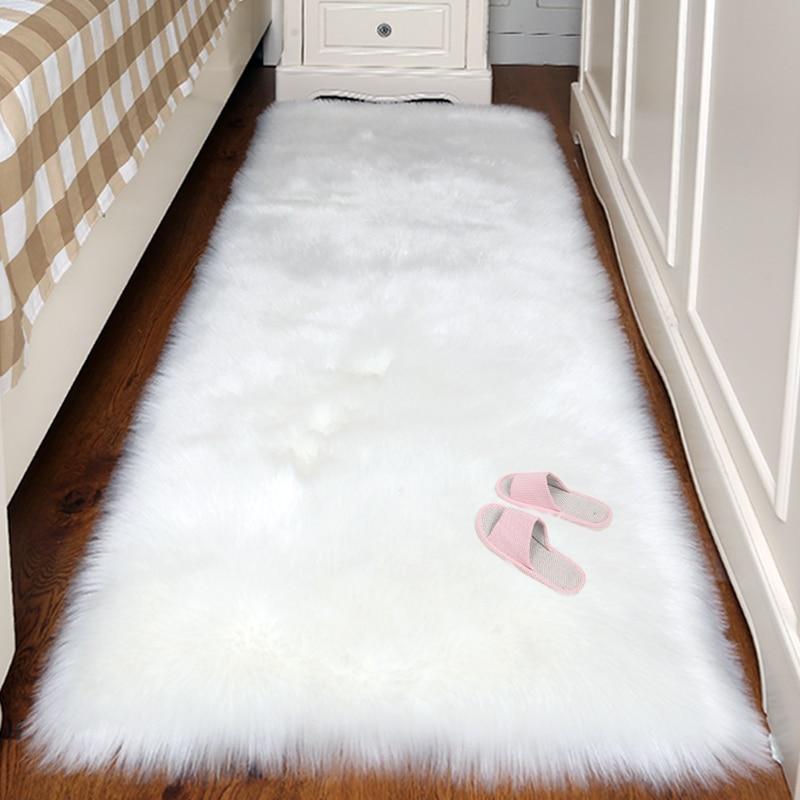 Artificial Wool Carpet Rectangle/Square garnish Faux Mat Seat Pad Plain Skin Fur Plain Fluffy Area Rugs Washable Home Textile(China)