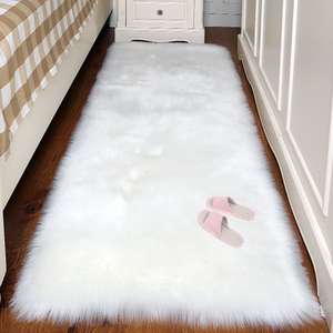 Artificial Wool Carpet Rectangle/Square garnish Faux Mat Seat Pad Plain Skin Fur Plain Fluffy Area Rugs Washable Home Textile(China)
