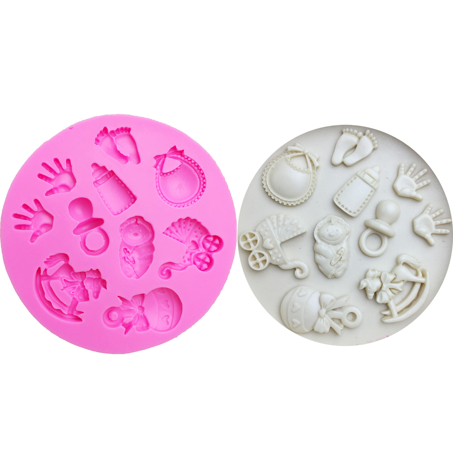 M0300 Baby DIY Hand/ Trojan/Bottle/Foot/carriage Silicone Mold Cake Decoration Tools