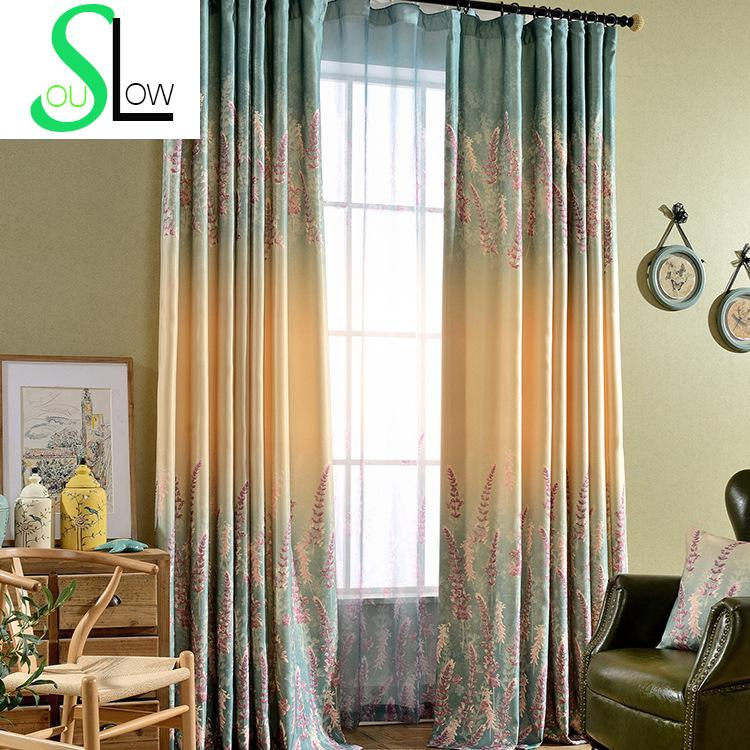 Lavender Printed Semi Shade Curtains For Living Room Gradient