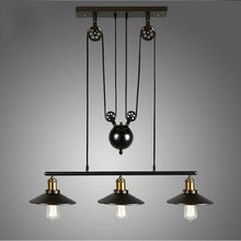 Pulley Pendant Lamp Light Retro Loft Vintage Industrial Pulley Pendant Lamp Industrial Home Lighting Fixture E27 Edison bulbs цена