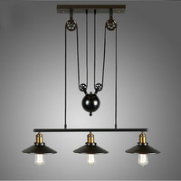 Industrial metal pendant light fixture Pulley Pendant Lamp Industrial Home Lighting Fixture E27 Edison bulbs Retro Loft light 11