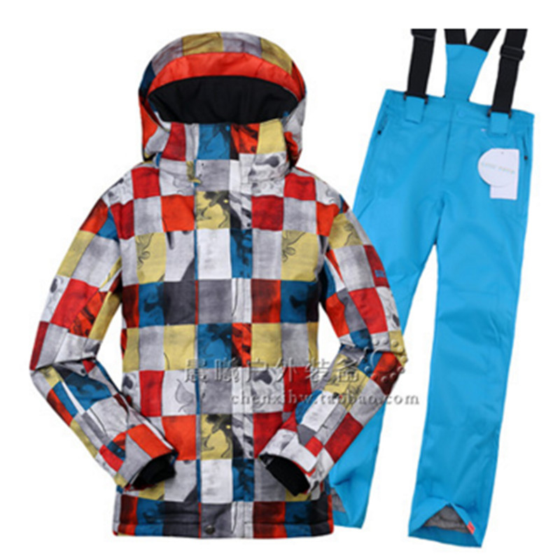 New Boys Skiing Suit Ski Jacket + Pant Snowboarding Set Winter Thermal Clothing for Boys Breathable Windbreaker Snow Suit