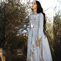 AMY New Women Spring Autumn Elegant Slim Single Breasted Long SLeeve High Quality Vintage Corduroy Light Blue Long Dress