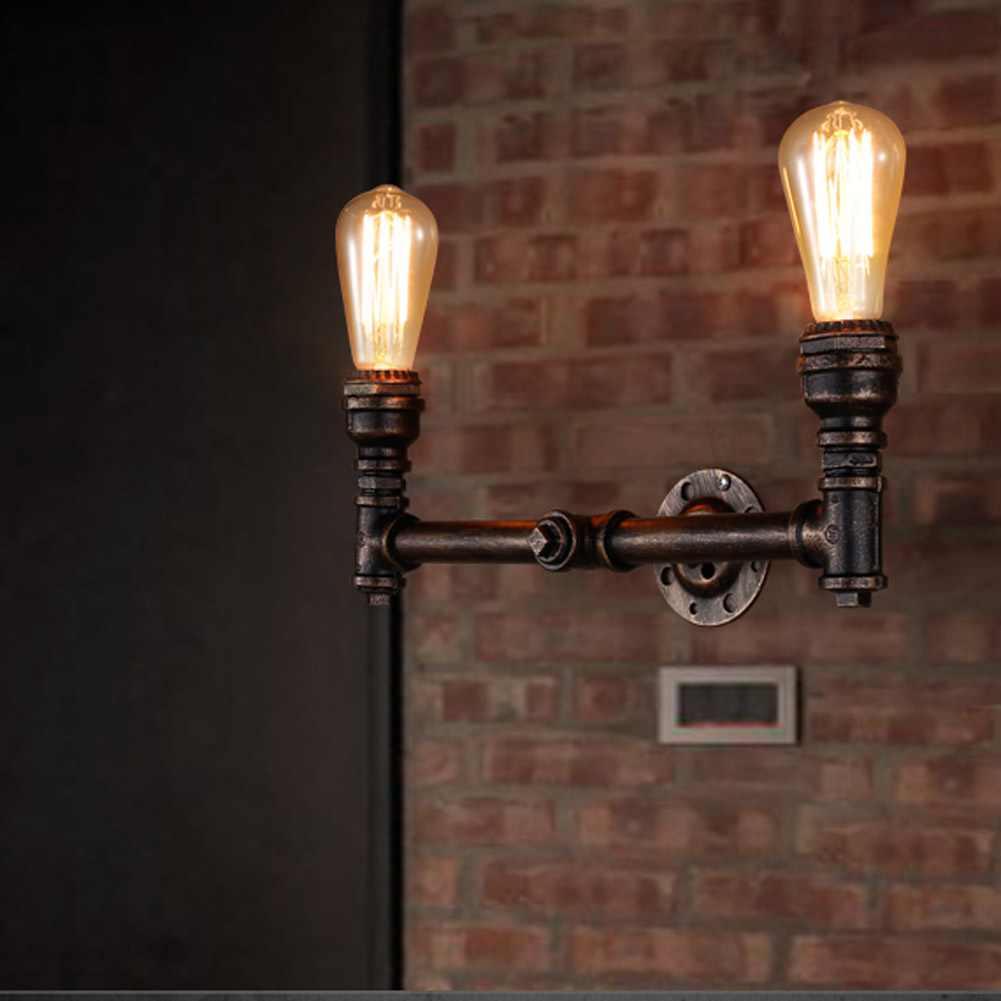 2Heads Water Pipe Steampunk Vintage Wall Lights For Dining Room Bar Home Decoration American Industrial Loft Wall Sconce rust color water pipe steampunk vintage pendant lights for dining room bar home decoration american industrial loft pendant lamp