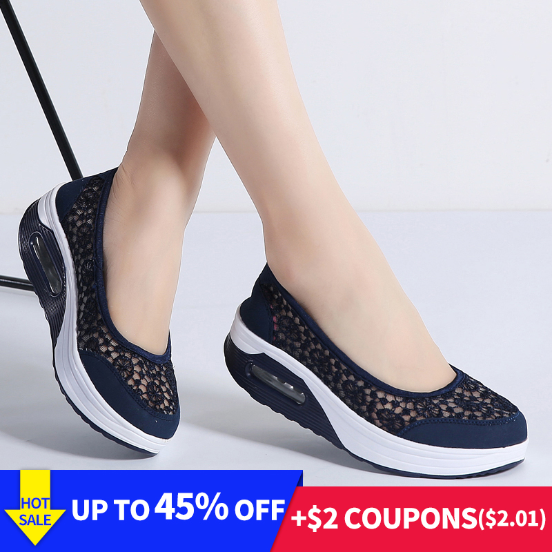 STQ 2019 Summer women flat platform shoes women breathable casual sneakers shoes slip on platform walking shoes for women 1618(China)