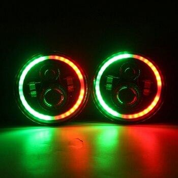 "Marlaa 7""LED Headlights Bulb RGB Halo Angel Eye for 1997-2017 Jeep Wrangler JK LJ Sahara Sport Rubicon Hummer H1 H2 Headlamp"