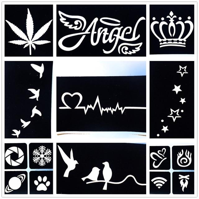 9 pieces lot diy drawning tattoo stencil small birds star heart