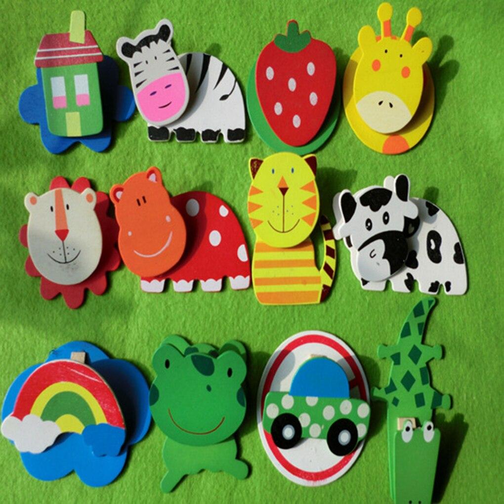 12 шт./компл. деревянный магнит на холодильник Малыш Детские игрушки мультфильм животных фрукты Дизайн