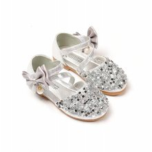 Girls Shoes Bling Party Shoes For Kids Children Bow knot Flats Pink Gold  Silver Bead Single ce7c14a52c8b