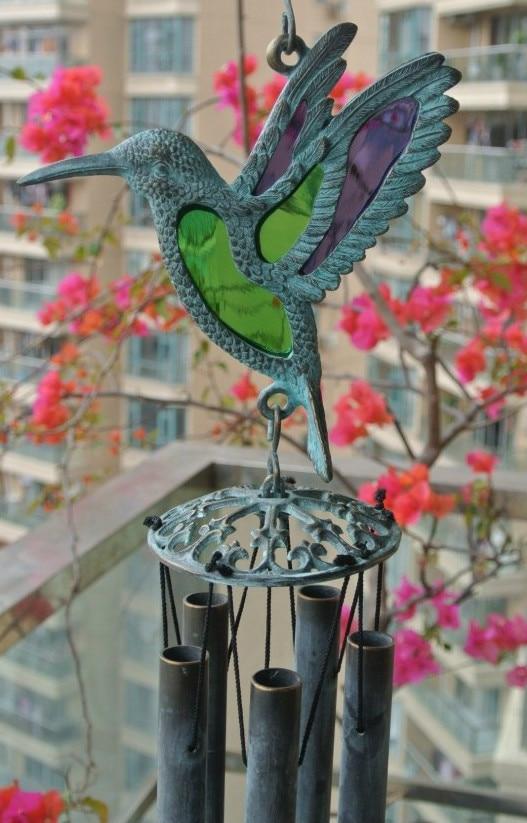 Ozvučná mosaz Kolibřík Vítr Zvonek Létající pták Větrné zvonky Závěsné Dekorace Kovový Verdigris Zahrada Veranda Venkovní