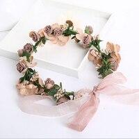 Wedding Bridal Hair Accessories Flower Fairy Wreath Headwear Women Bow Hair Bands Girls Dress Decoration Fashion