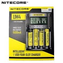 100%Original NITECOR UM4 UM2 LCD USB QC Smart Battery Charger for Li ion IMR INR ICR LiFePO4 18650 14500 26650 AA 3.7V 1.2V 1.5V