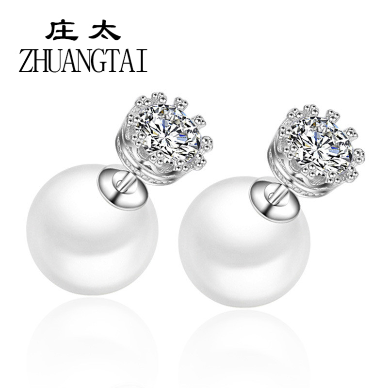 Trendy Stud Earring Simulated Pearl Cubic Zirconia White Gold Color Crown Women Jewelry Boucle d oreille