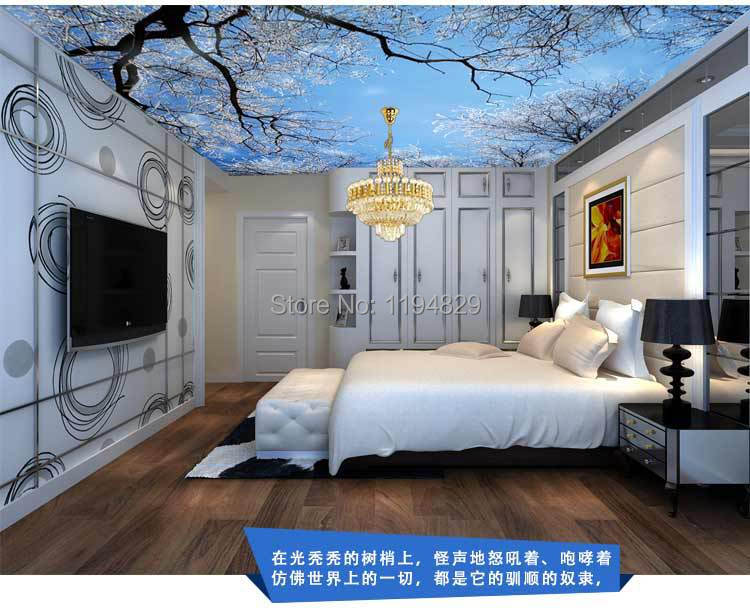 3d nature winter sonw tree on the roof ceiling wallpaper for 3d roof wallpaper