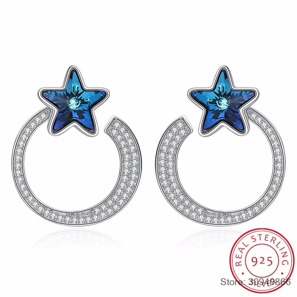 SMTCAT boucles d'oreilles étoile cercle à la mode pour les femmes bijoux fins cristaux de réel 925 argent suspendu Piercing