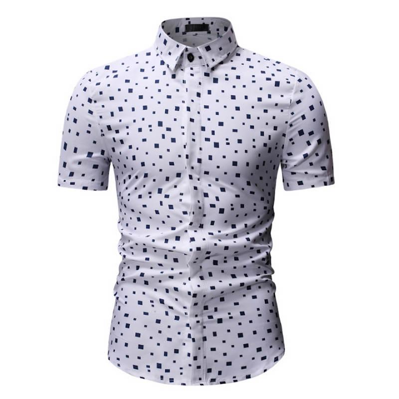 2019 New Men's Short Sleeve Hawaiian Shirt Summer Style  Men Casual Beach Hawaii Shirts Fit Slim Male Blouse Summer Top