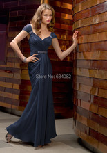 Elegant Dark Blue Chiffon Long Cap-sleeve Sheath Evening Dress Formal Party Prom Gown Mother Of The Bride Dresses 2015 New
