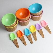 6pcs Kids Ice Cream Bowl Spoon Set Durable Children Gifts Lovely Dessert Bowl DIY Ice Cream Tools icecream bowl+spoon C0625 цена