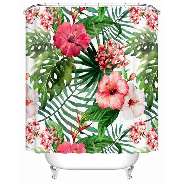 The Bright Red Flowers And Green Leaves In Spring Polyester Fabric Pattern Bathroom Shower Curtain 3d Print For Home Decor