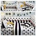 3/4 unids conjunto ropa de cama de Bebé bebé ropa de cama cuna conjunto de parachoques Negro diseño de punto y Tela Escocesa de La Raya 100% edredón de algodón hoja funda de almohada