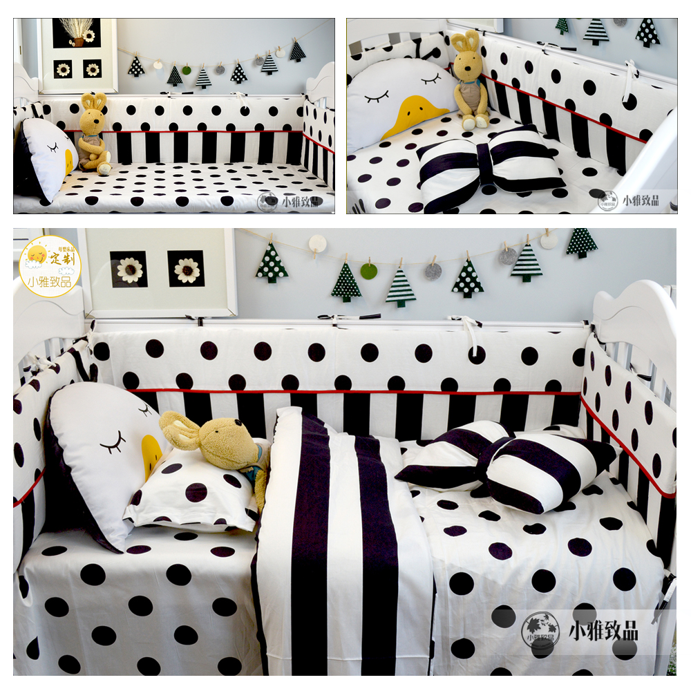 3/4pcs set Baby bedding baby crib bedding set bumper Black Dot and Plaid Stripe design 100% cotton duvet cover sheet pillowcase nightmare before christmas 4pcs bedding set duvet cover bedspread pillowcases