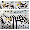 3/4pcs set Baby bedding baby crib bedding set bumper Black Dot and Plaid Stripe design 100% cotton duvet cover sheet pillowcase