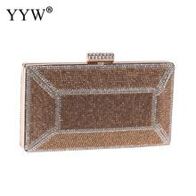 YYW Women Evening Clutch Bag Metal Sequin Female Crystal Day Wedding Purse Party Banquet Black Gold Silver