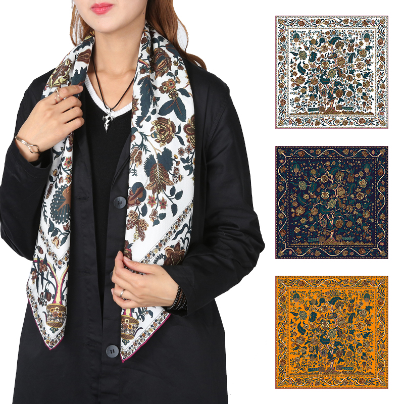 Tree of Life Prints Large Square 100% Silk   Scarf     Wraps   Shawl High Quality Hand Rolled Edges