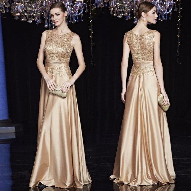 218940608a6f A buon mercato di Raso Oro Reale Blu Vestiti Da Sera Lungo Più Il Formato  Convenzionale