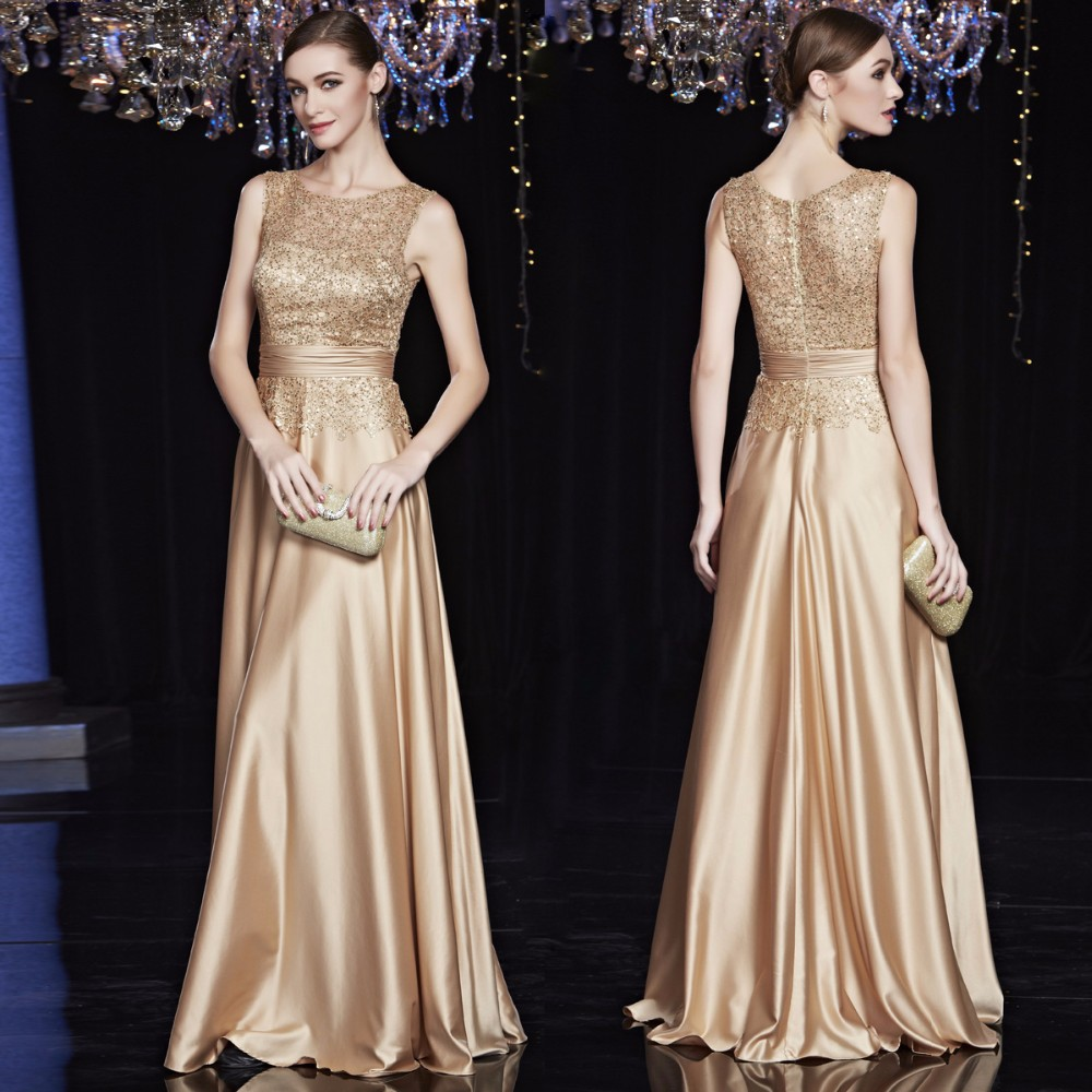 Billiga Satinguld Kungblå Aftonklänningar Långa Plusstorlek Eleganta formella festklänningar för brudklänningens mor Plusstorlek