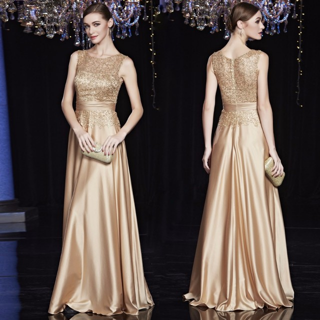 Cheap Satin Gold Royal Blue Evening Dresses Long Plus Size Elegant ...