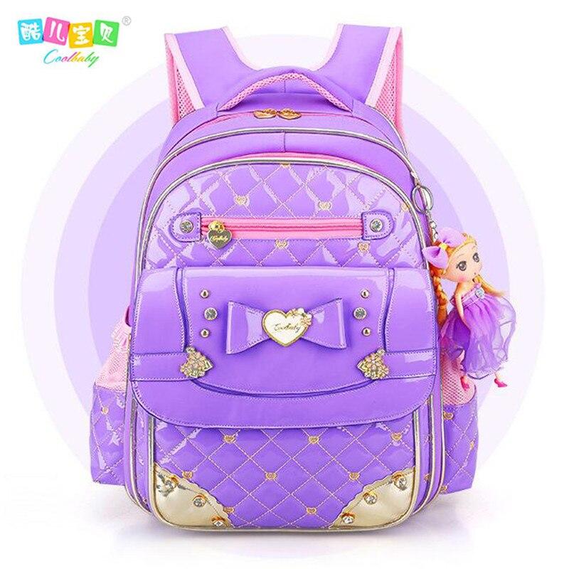 New Coolbaby Sweet Lovely 1 6 Grade Schoolbag Waterproof PU Backpacks Cartoon Princess Bookbag Fashion Girls