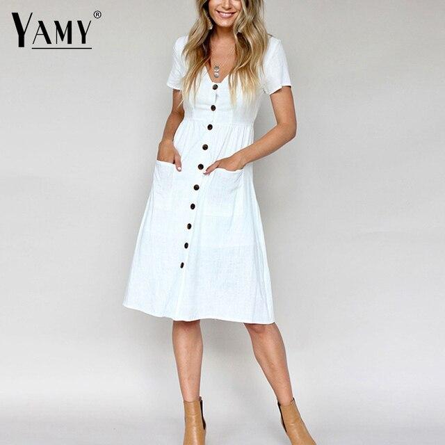 6d410c9f4d9 Korean white black cotton linen dress women short sleeve button casual  beach dress Summer vintage v