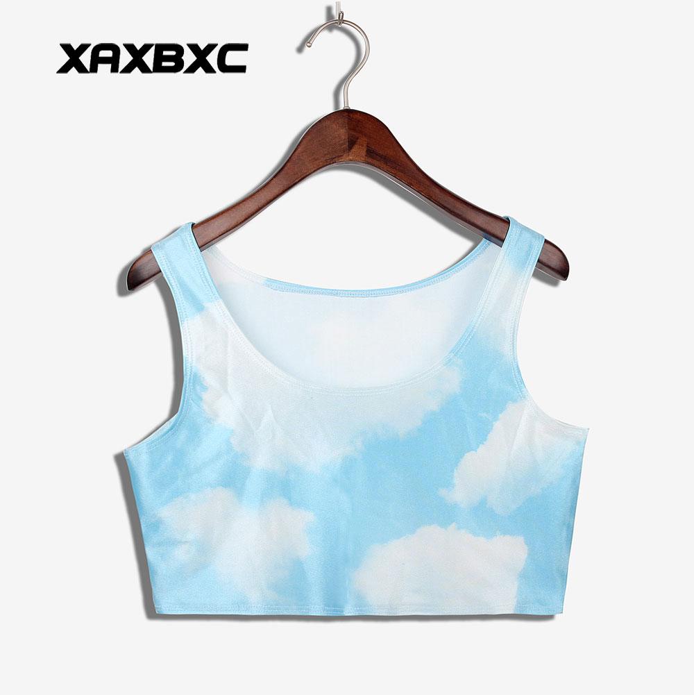XAXBXC 1015 Summer Sexy Girl Vest Women Crop Top Blue sky white cloud Prints Elastic Slim Sleeveless Fitness Tank Tops