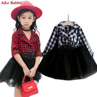 AiLe Rabbit 2017 Girls Tutu Dresses Spring Autumn Full Sleeve Children's Clothing Plaid Lace Dress Outfits Kids Clothes