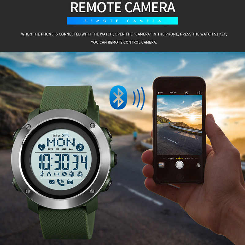 Smartwatch Men Sport Watch Waterproof Smart Watch For Android Wear Android OS IOS Bluetooth Compass reloj inteligent SKMEI 2019