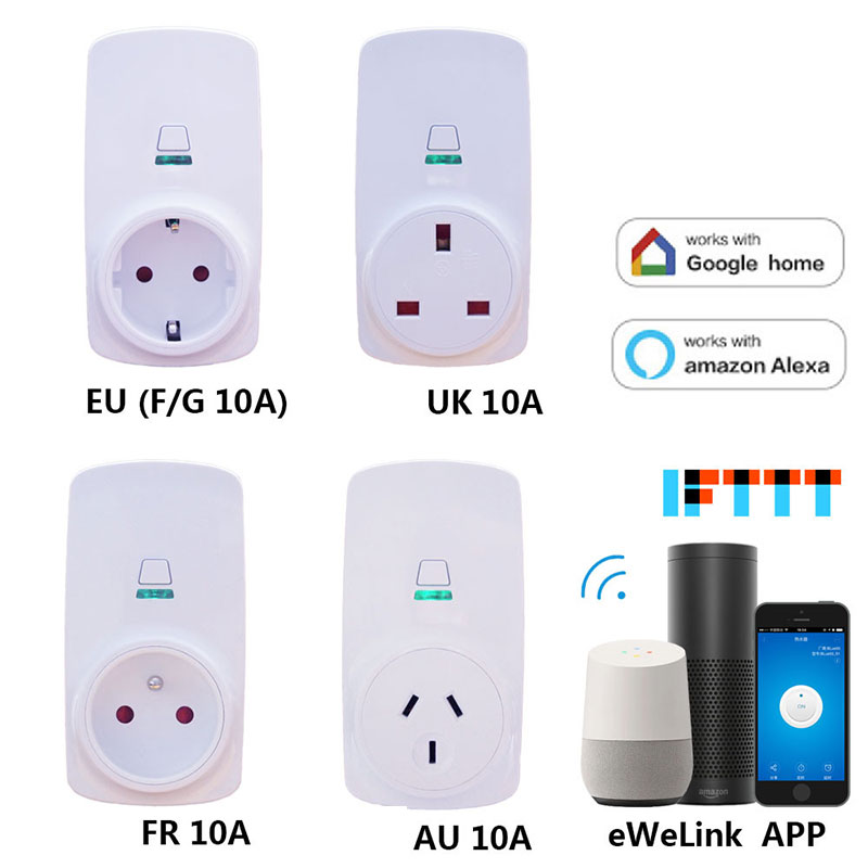 Wifi Wireless Remote Control Socket Phone App Wifi Control Smart Timer Home Automation EU / US / UK /AU/ FR Plug Timer sonoff eu us uk au standard wifi smart socket wireless remote control socket smart home automation smart power socket plug