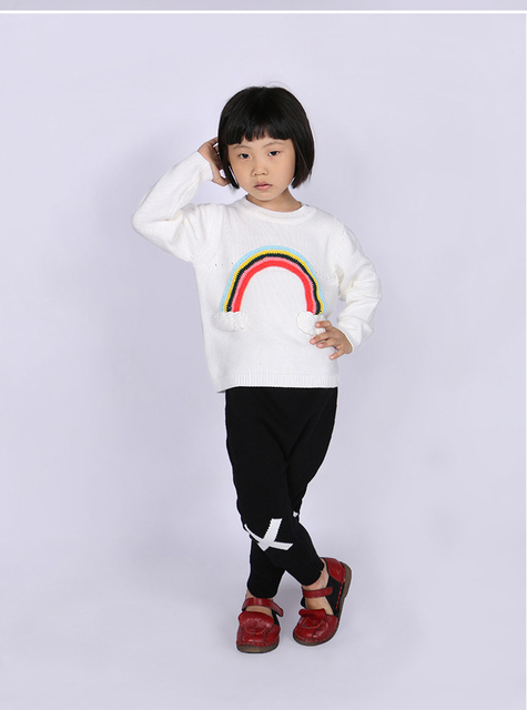 fashion new Europe Children's  rainbow pattern sweater girl bobochoses long sleeve knitted  clothes baby cotton tops white