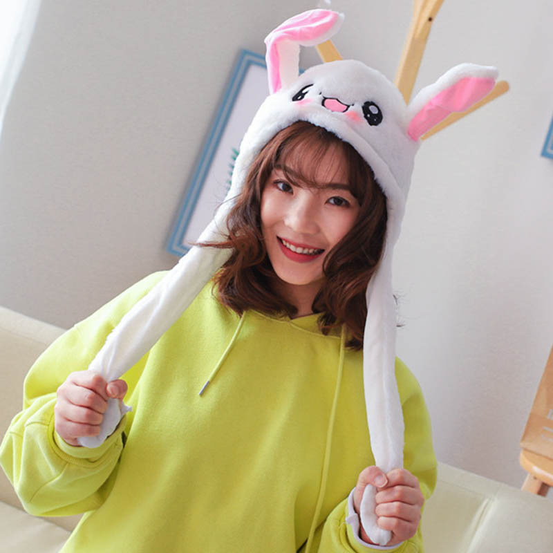 Cute Bunny Plush Hat Funny Playtoy Ear Up Down Rabbit Gift Toy For Kids Girls Girlfriend  AIC88