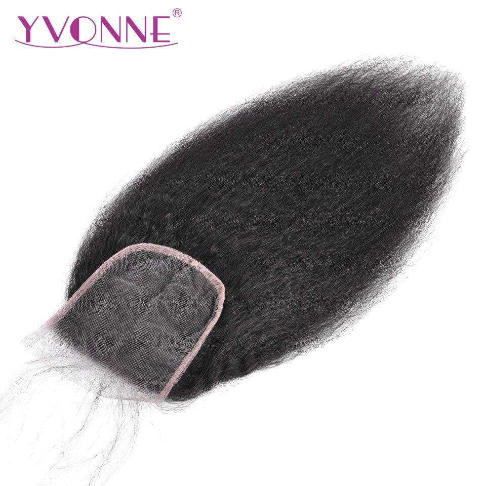 YVONNE Kinky Straight Closure Brazilian Virgin Human Hair Lace Closure 4x4 Free Part Natural Color