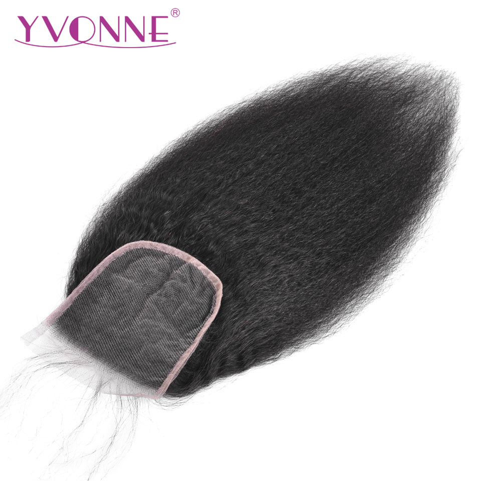 YVONNE Kinky Straight Closure Brazilian Virgin Human Hair Lace Closure 4x4 Free Part Natural Color