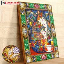 Huacan Special Shaped Diamond Painting Animal Picture Of Rhinestones 5D DIY Partial Round Embroidery Cat 40x50cm