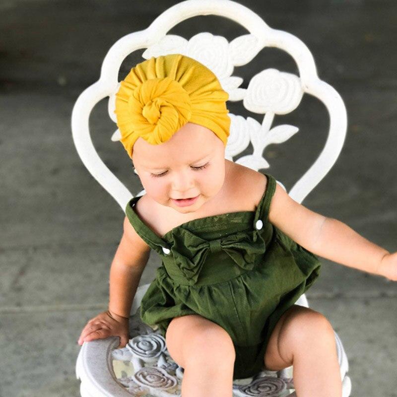 Sale 1PC Newborn Sleeve Turban Hat SpringCap Children For Girls Solid Cotton Bohemia Knot Baby Hat