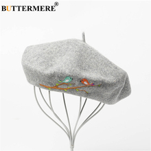 BUTTERMERE Winter Hat Wool Gray Beret Hats for Women Bird Embroidery Female Vintage Designer Brand High Quality French