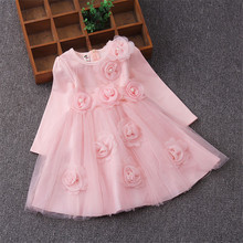 2017 New Spring Girls Children Long Sleeves Ball Gown Dress With Flowers Appliques Cute Kids Princess