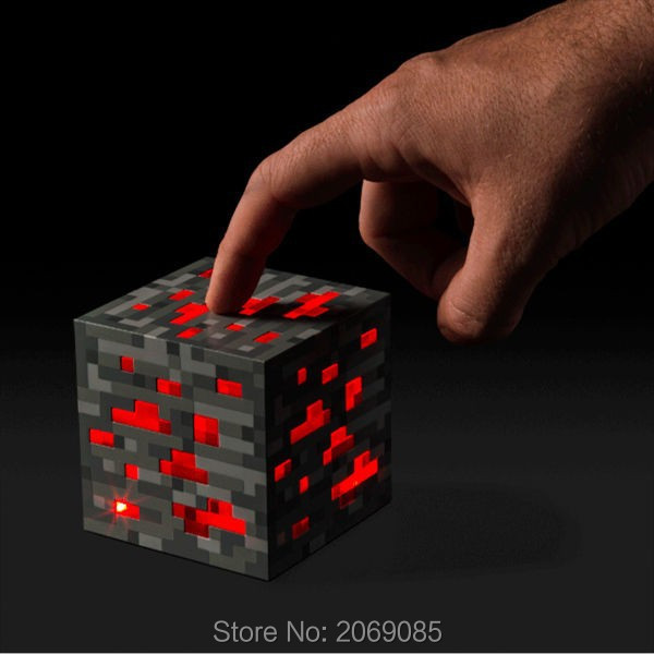 Minecraft Light Up Popular Game Redstone Ore Square Night Light Led PVC Toys #1177 <font><b>Action</b></font> Figure Toy Kids Gift