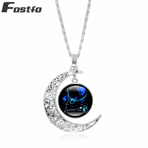 Fostfo Fashion Women Natural stone 12 Horoscope Pendants Necklaces Silver Color Alloy Link Chain Moon Pendants Necklace