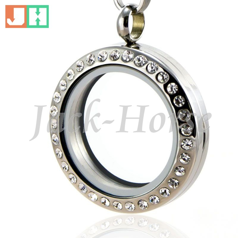 316 Stainless steel Free shipping 20mm 25mm 30mm magnetic floating charm lockets  crystal memory living locket