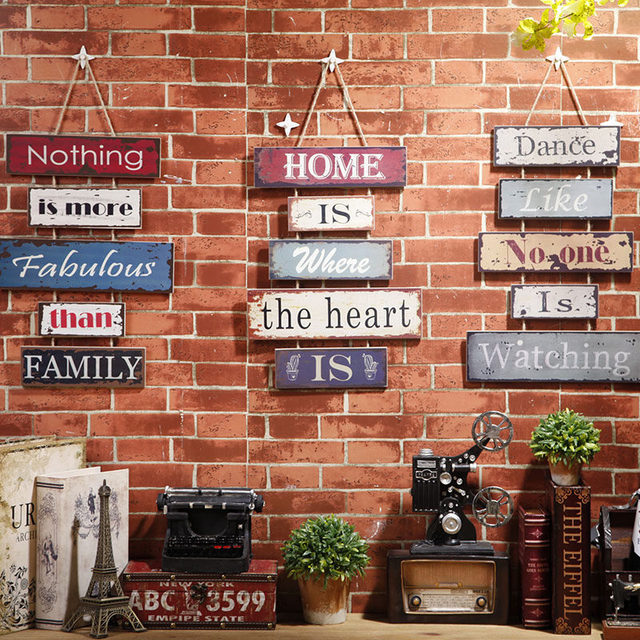 Vintage Wood Painting Hanging Creative letters Wall Hanging Decor ...